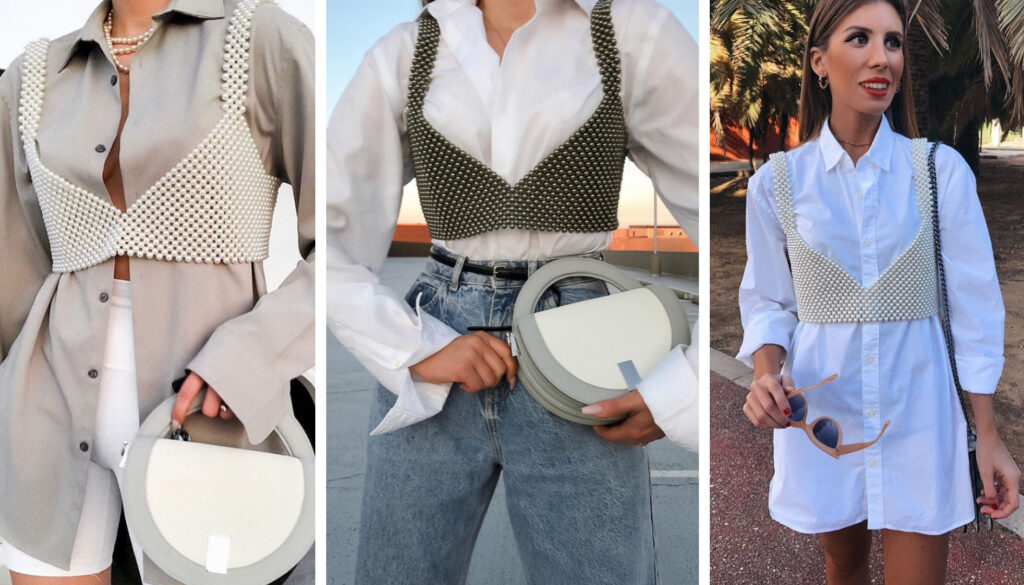outfit con camicia bianca e crop top in perline