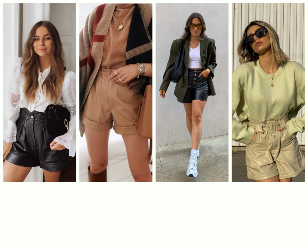 outfit con shorts in pelle