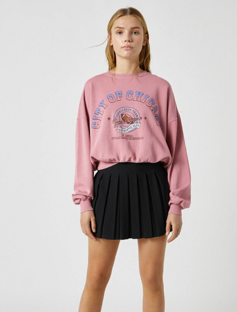 Gonnellina nera a pieghe Pull and Bear