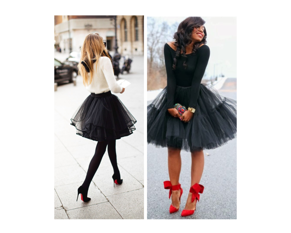 outfit per Natale con gonna in tulle